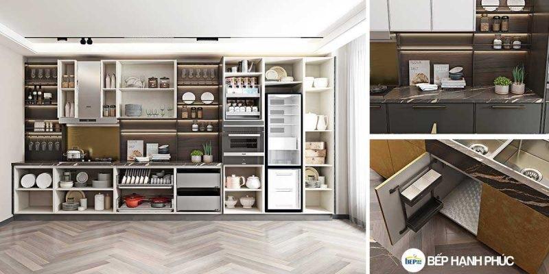 Tủ bếp chữ I chất liệu MDF sơn hiện đại KTB-I-20-03