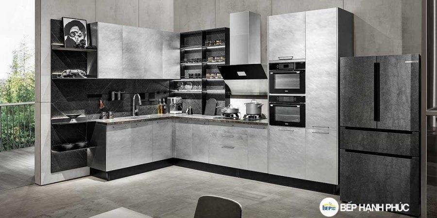 Tủ bếp chữ L chất liệu Melamine vân kim loại KTB-L-20-07