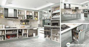 tủ bếp áp sát trần đẹp