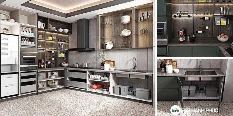 Kệ tủ bếp chữ L chất liệu melamine vân gỗ KTB-L-20-03