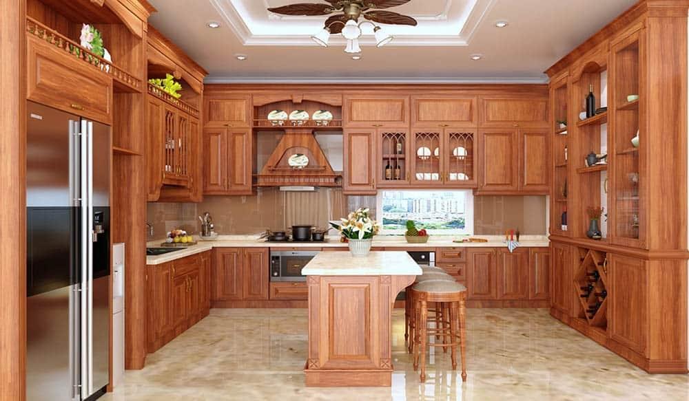Top 5 mẫu kệ tủ bếp gỗ gõ đỏ đẹp, bền được mua nhiều hiện nay 5